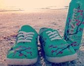 Arizona Green Tea Cherry Blossom Painted Shoes