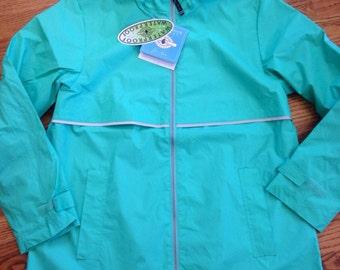 Womens size Large Monogrammed Mint Colored Rain Jacket