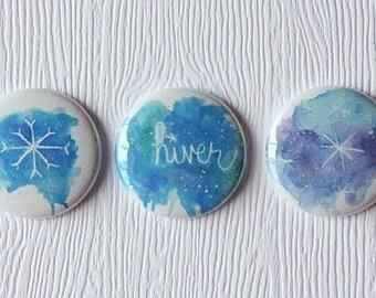 "3 badges 1 ""winter watercolor"