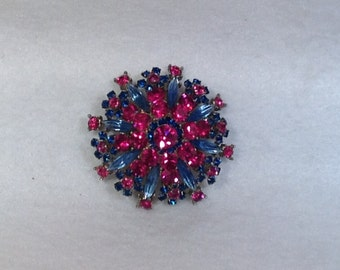 Blue and Fuchsia Vintage Brooch