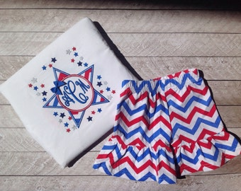 Fourth of July chevron star with ruffle short set