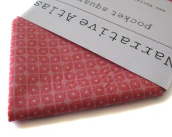 Pocket Square - Pindot Lattice - Coral