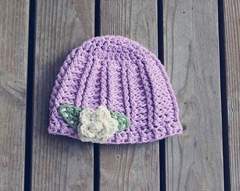 Crochet baby girl flower hat