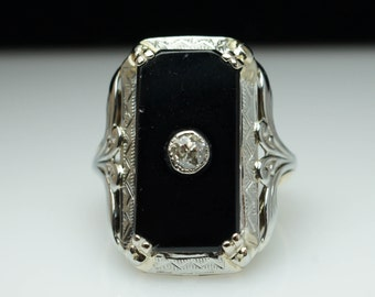 Antique Edwardian Onyx & Diamond Signet Solitaire Ring 18k Yellow and White Gold