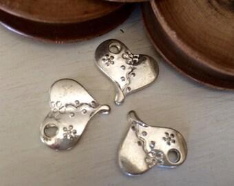 Heart charm silver tone 20 mm x 3 pcs