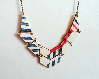 Geometric Nautical Bib Necklace, Wood Handpainted  necklace, Sea Necklace,Geometric Jewelry
