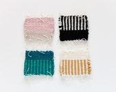 Hand woven mug rug coasters - set of 4 - stripe color block