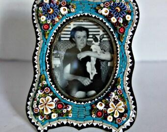 Antique Micro Mosaic Photo Frame, Victorian Mosaic Frame