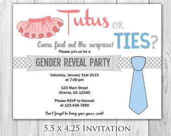Tutus or Ties Gender Reveal Party  |  Sold in Sets of 8