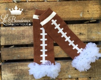 Football Leg Warmers, White Chiffon Ruffles, Baby Leg Warmers, Girls Legwarmers,Toddler Leggings, Ruffled Football Leggings,Knit Leg Warmers