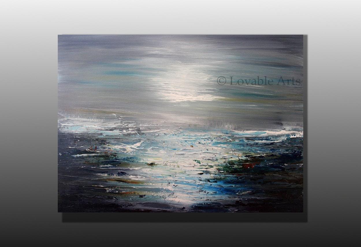 Peinture art moderne bleu et gris bleu peinture contemporaine for Peinture gris bleu