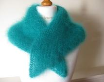Wool Scarf, Triangle scarf, Long hair mohair scarf, Jade Mohair, under 30
