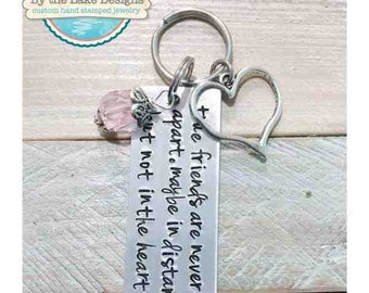 hand stamped friends key chain