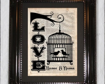 Custome Love Bird Art Print, Dictionary Art Print, Upcycled Book Art, Silhouette, dictionary page Wall Decor, Wall Hanging, Mixed Media Art