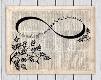 Infinity Quote Print, Dictionary Art Print, Upcycled Book Art, Silhouette, dictionary page Wall Decor, Wall Hanging, Mixed Media Art