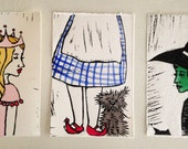 Wizard of Oz Print Set Linoleum Cut Relief Printmaking