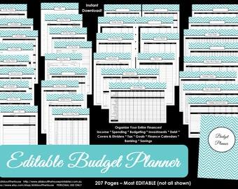 ALL 7 COLOURS EDITABLE Budget planner printable Household Binder Chevron debt savings banking tax account template Finance money management