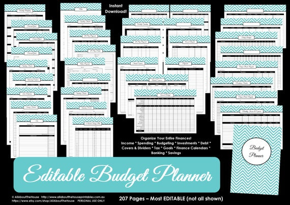 Budget planner LIGHT BLUE EDITABLE printable Household Binder Chevron debt savings banking tax account Budget template Finance money spende