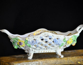 Beautiful Dresden Bowl, Antique porcelain bowl, reticulated china floral,Raised flowers, Germany, porcelain, Wonderful Gift Idea, #1420