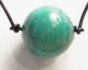 Malachite Bead (12 mm to 14 mm) on a Leather Cord Necklace N203