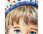 Young Watchful Eyes - portrait 11 x 14 unframed - signed - original art - FREE Shipping!