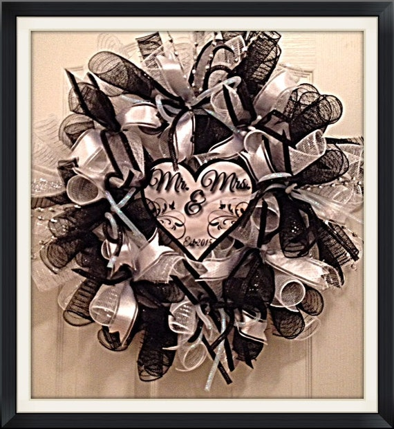 Elegant Mr And Mrs Wedding Deco Mesh Wreath Wedding