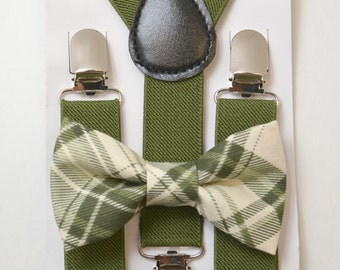 Size 6 months- 18Years Kids Baby Boys Green Suspenders & Plaid Green Cotton clip on /  pre-tied straps  bowtie bow tie SET