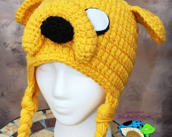 Adult size ready to be shipped jake the dog inspired by adventure time double threaded thick crochet hat