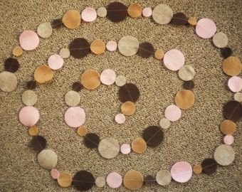 Pinks and Browns Felt Circle Garland