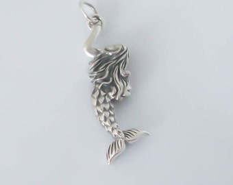 Sterling Silver 3D Mermaid Charm / Pendant