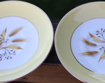 5 vintage Century Service Autumn Gold Wheat design saucers -yellow, white and gold trim- mid century plates, up cycle project saucers