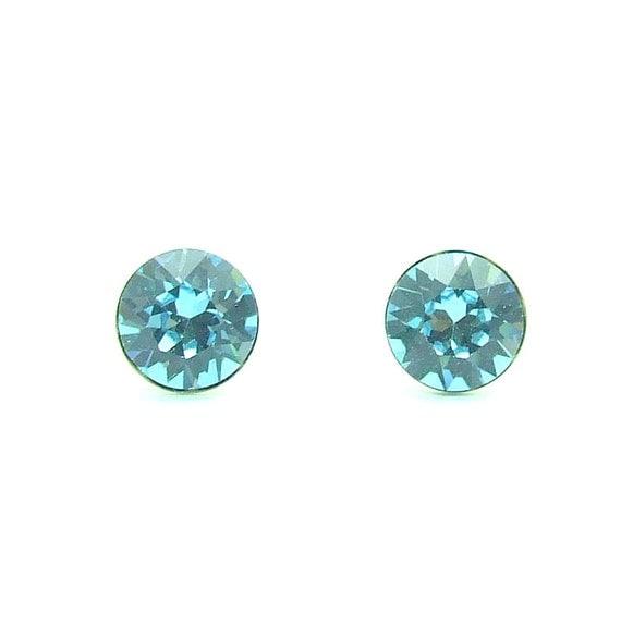 Light Blue Swarovski Crystal Stud Earrings By Beadstobuyfor