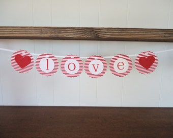 Love Wedding Banner with Hearts Decorative Bunting Sign