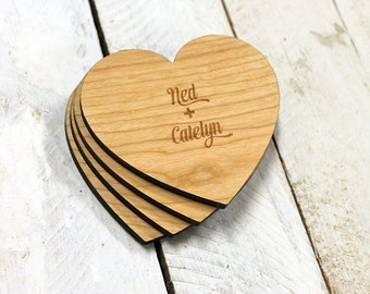 Heart Coasters, Set of 4 - Engraved with First Names
