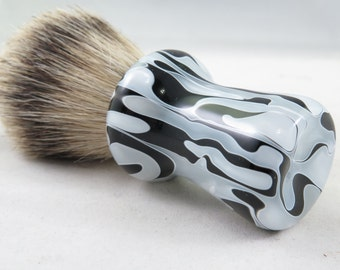 Black and White Acrylic Silvertip Badger Shaving Brush