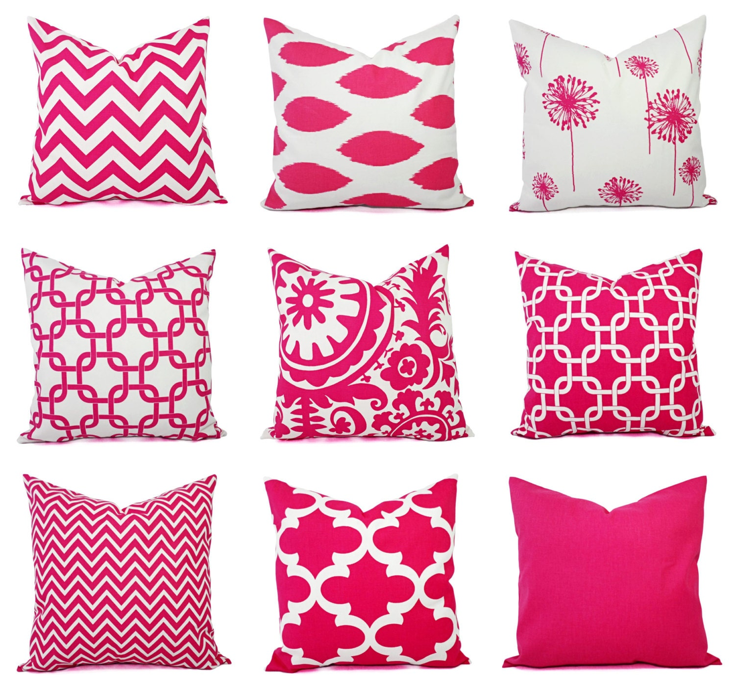 Throw Pillow Cover Hot Pink and White Pillow Decorative