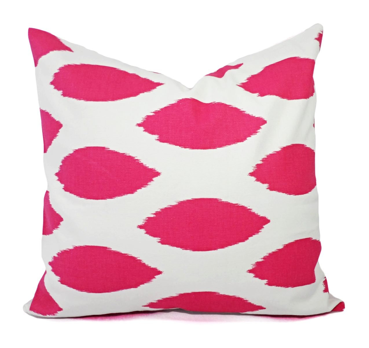 Two Decorative Pillow Covers Two Hot Pink and White Pillows