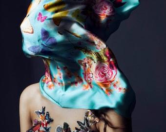 Fine silk scarf with original print