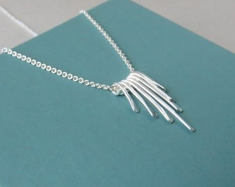 Sterling Silver Necklace, waterfall necklace, Karen Hill Tribe, graduated, hill tribe silver, paddle, unique, bridesmaid gift, marciahdesign