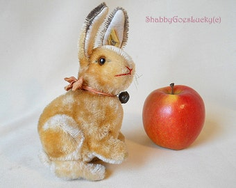Steiff Rabbit ('Proto - Sonny'), vintage 1950 – 64 only, largest 7 inch edition with button, label, swivel head, sitting mohair Easter bunny