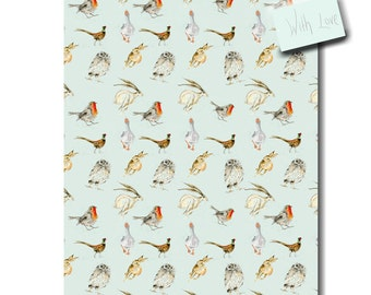 Blue Wrapping Paper, Fur & Feather, (Hare, Robin, Owl, Goose, Pheasant) - Recycled Gift Wrap