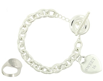 Silver Plated Sweet 16 Toggle Bracelet and Ring (Free Shipping)