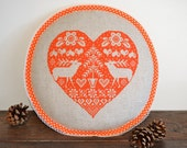 Red Heart Reindeers - Cross Stitched Christmas Decoration - Decorative Cushion Pillow - Gift for Home