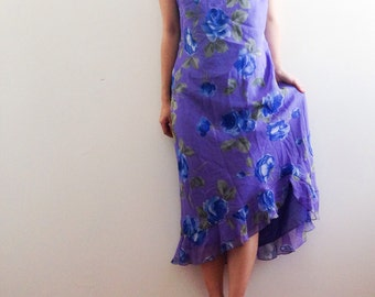 Lavendar purple floral 90s dress