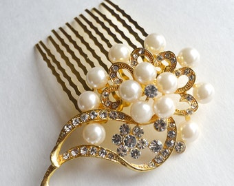 Flower Bridal Comb - Gold Hair Piece with Rhinestones, Gold Wedding Hair Comb, Fashion Hair Comb