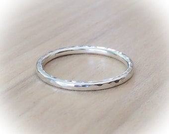 Sterling Silver Ring,  CLASSIC Hammered Silver Ring, Stacking Ring, Stackable Ring, Minimalist Jewelry, Etsy Gift Ideas, Boho jewelry