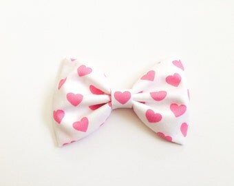 White and pink hearts bow