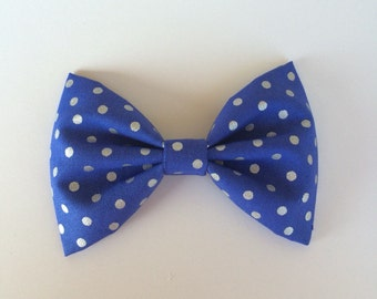 Blue and silver dots bow