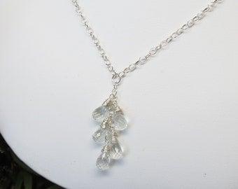 Aquamarine Necklace, Bridal Necklace,  March Birthstone, Pale Blue Gemstone,  Wedding Jewelry, Something Blue Something New