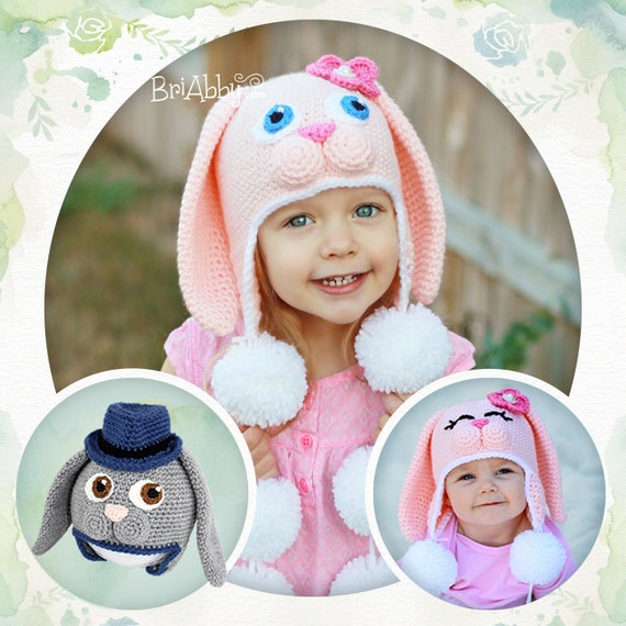 Crochet Bunny Hat With Flower Pattern : Crochet Sweet Bunny Hat Pattern PDF FILE